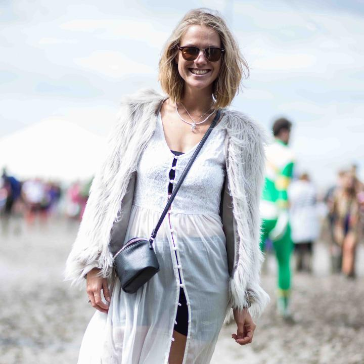 This blonde waif channeled Kate Moss in a diaphanous white dress and furry topper