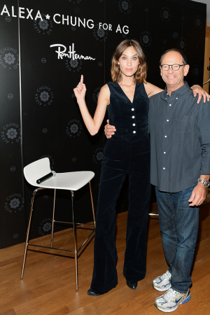 LOS ANGELES, CA - JULY 23:  Alexa Chung and Ron Herman attend the launch of Alexa Chung X AG PA at Ron Herman on July 23, 2015 in Los Angeles, California.  (Photo by Chris Weeks/Getty Images for AG)