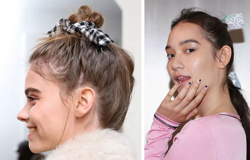 At borh Sandy Liang and Adam Selman, models wore patterned bows in their hair. Throwing on a solid satin bow may feel a bit juvenile and over thought, so opt for thick, patterned piece of matte fabric and knot it direcity into the hair.