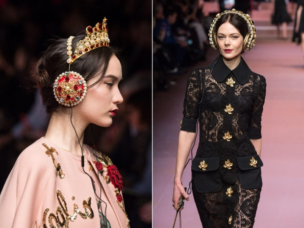 Dolce and Gabbana debuted the bejewelled headphones on the AW15 catwalk