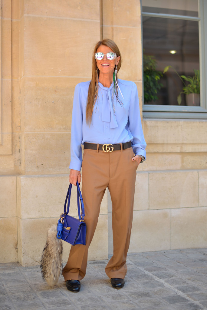 PARIS, FRANCE - JULY 06: Anna Dello Russo poses wearing Gucci shirt, pants and belt and Loewe bag before the Schiapparelli show at Place Vendome on July 6, 2015 in Paris, France.  (Photo by Vanni Bassetti/Getty Images)