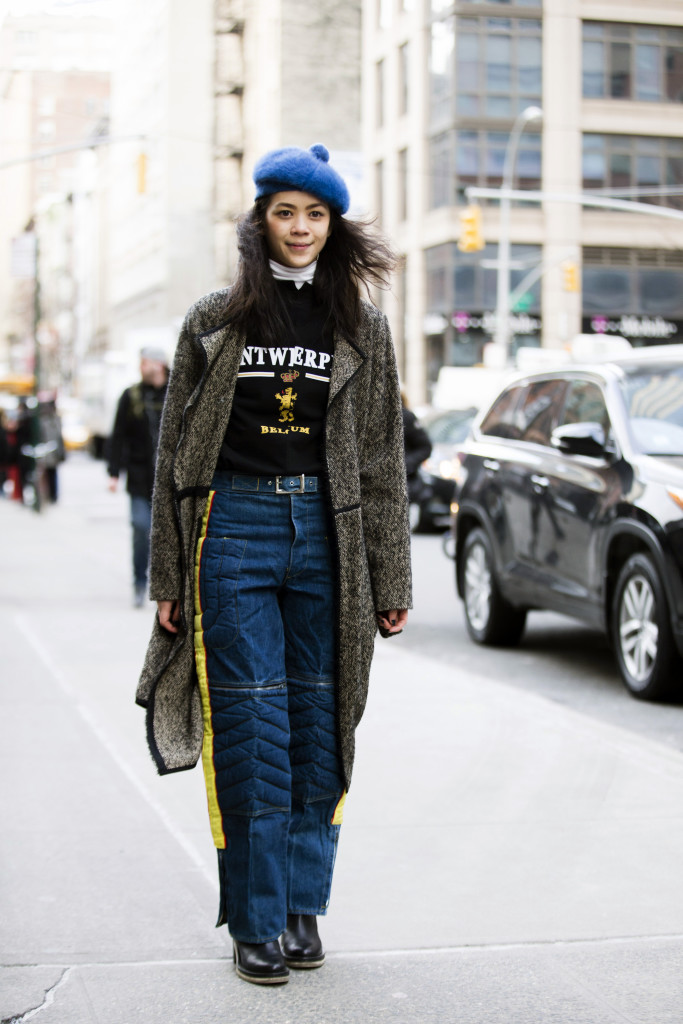 Patty Lu wears a blue beret, Antwerp t-shirt, and Vetements brand during New York Fashion Week: Women's Fall/Winter 2016 on February 11, 2016 in New York City.