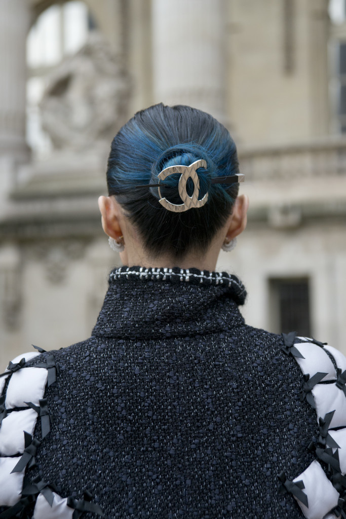 PARIS, FRANCE - OCTOBER 6: DJ Mademoiselle Yulia wears a Chanel hair piece,and jacket on day 8 during Paris Fashion Week Spring/Summer 2016/17 on October 6, 2015 in Paris, France.  (Photo by Kirstin Sinclair/Getty Images)*** Local Caption *** Mademoiselle Yulia