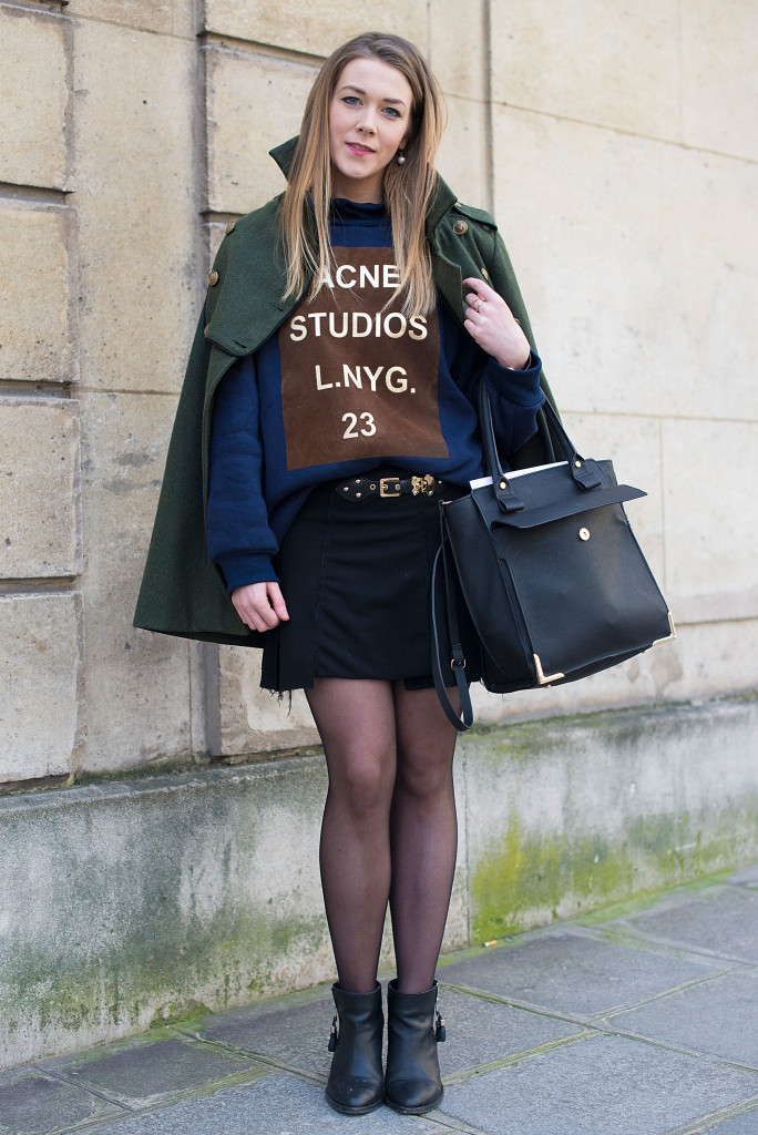 PARIS, FRANCE - FEBRUARY 26: Laura Murphy wears Urban Outfitters shoes and coat, Zara skirt and bag and ACNE Studios sweater before Alexis Mabille show on February 26, 2014 in Paris, France.  (Photo by Vanni Bassetti/Getty Images)