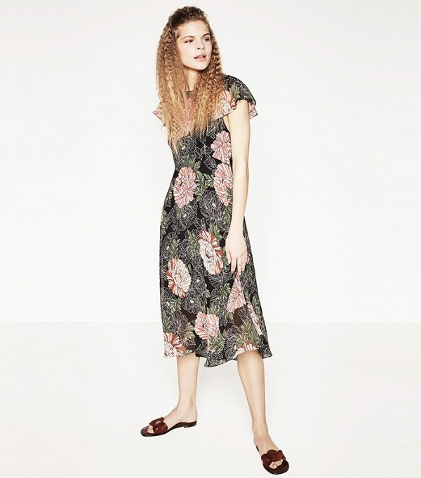 Zara Printed Dress with Frills