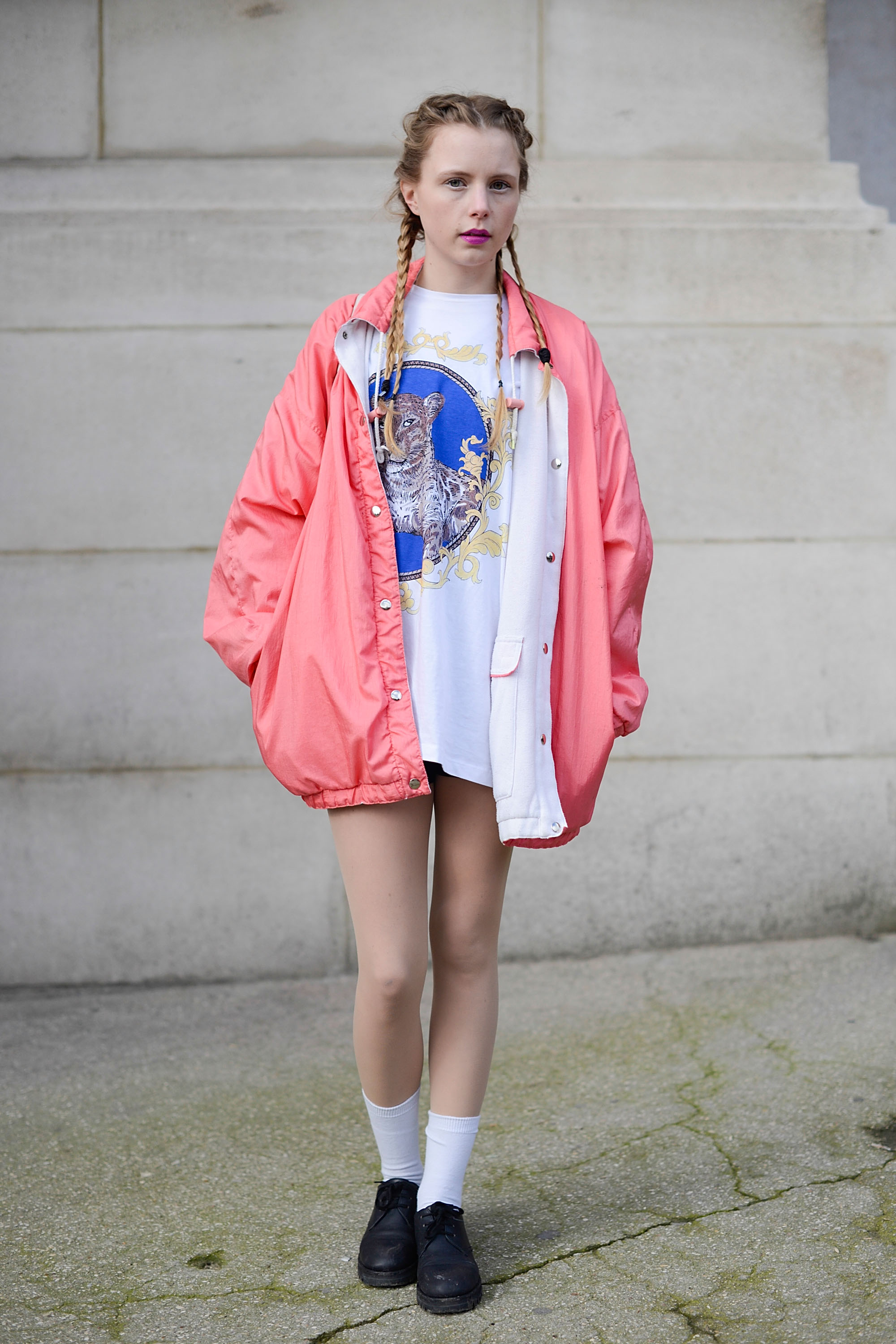 PARIS, FRANCE - MARCH 04: Fashion blogger Marie Myrhoj Jensen poses wearing a vintage jacket, Asos t-shirt and Marni shoes after the Chanel show at the Grand Palais on March 4, 2014 in Paris, France.  (Photo by Vanni Bassetti/Getty Images)