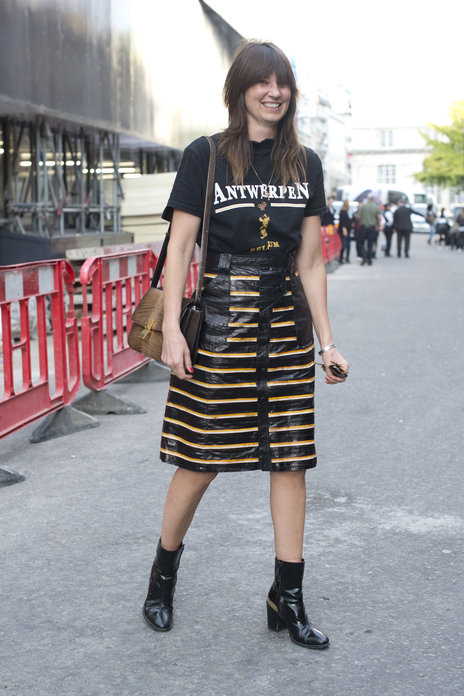 LONDON, ENGLAND - SEPTEMBER 19:  Fashion director Vanessa Coyle wears Vetements top, Proenza Schouler skirt, and Celine bag and shoes on day 2 during London Fashion Week Spring/Summer 2016/17 on September 19, 2015 in London, England.  (Photo by Kirstin Sinclair/Getty Images)