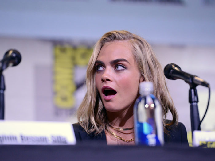 "SAN DIEGO, CA - JULY 21:  Actress Cara Delevingne attends the ""Valerian And The City Of A Thousand Planets"" panel during Comic-Con International 2016 at San Diego Convention Center on July 21, 2016 in San Diego, California.  (Photo by Albert L. Ortega/Getty Images)"