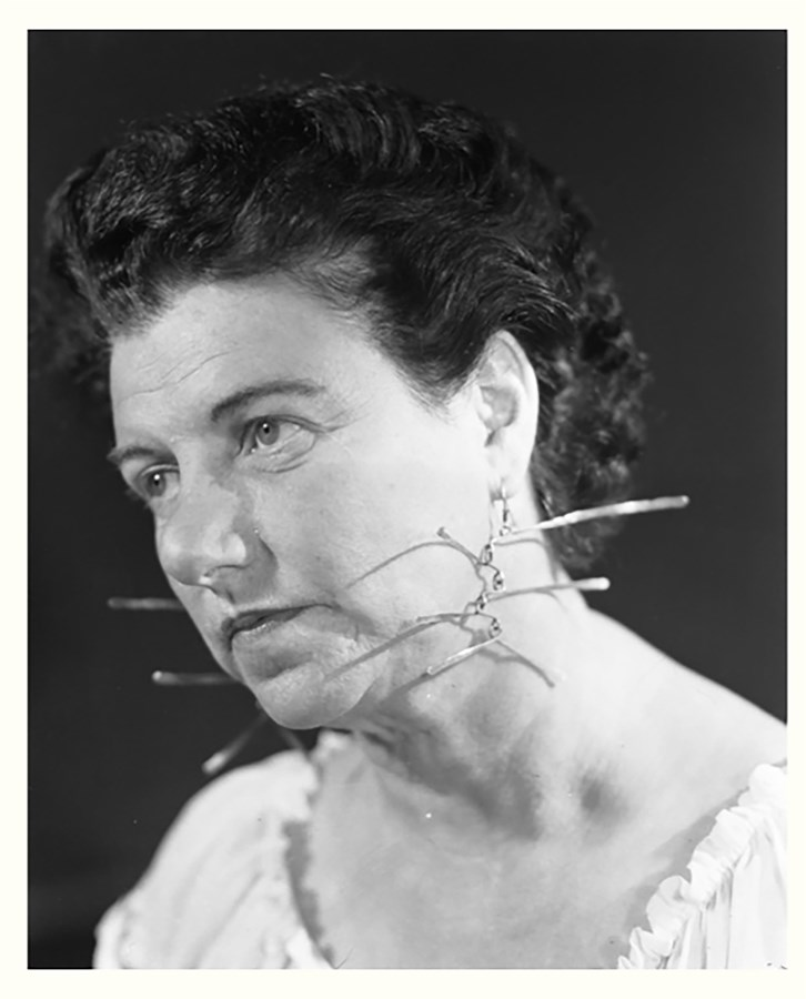 Peggy Guggenheim wearing earrings by Alexander Calder, 1942© Solomon R. Guggenheim Foundation, Photography © Archivo Cameraphotoepoche, Courtesy of The Calder Foundation, New York