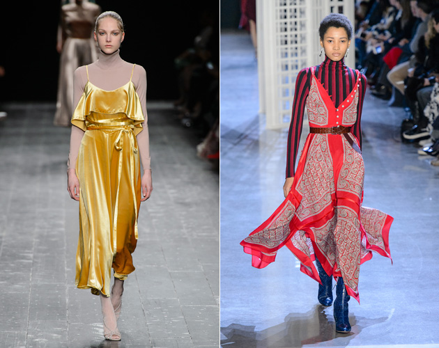 (L-R) Valentino and Altuzarra's AW16 commandment: layer a polo neck knit under your summer frock for a new season spin