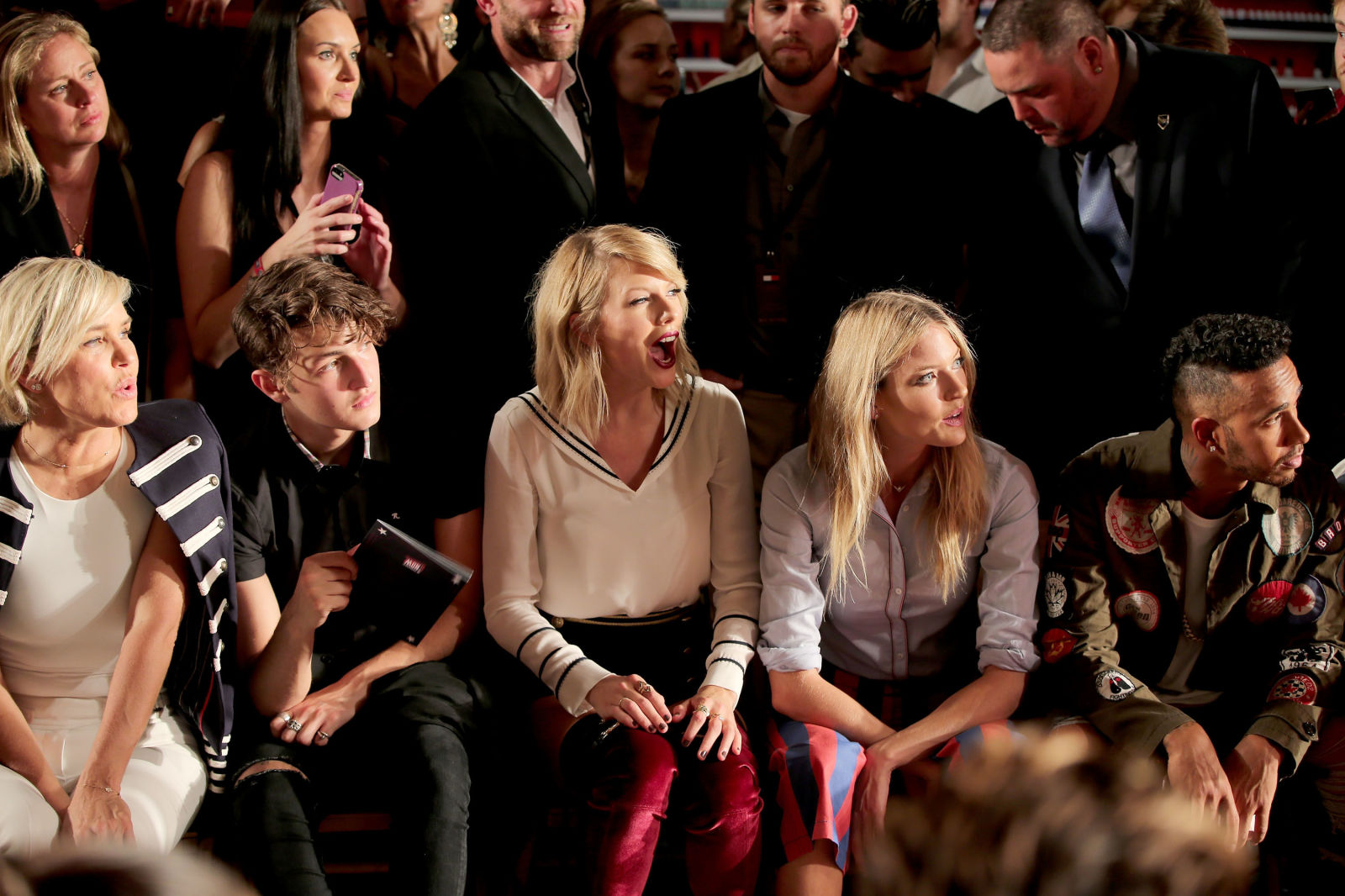 With Yolanda Foster, Anwar Hadid, and Martha Hunt in the front row  / GETTY