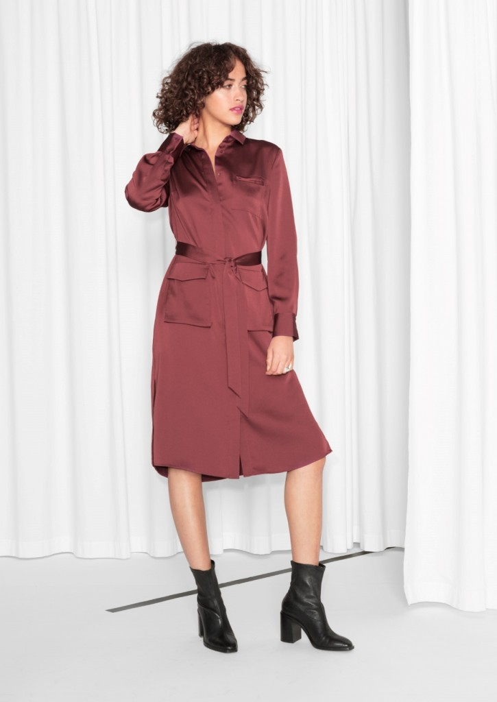 Satin shirt dress, €95 at & Other Stories