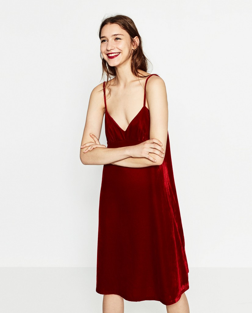Velvet slip dress, €39.95 at Zara