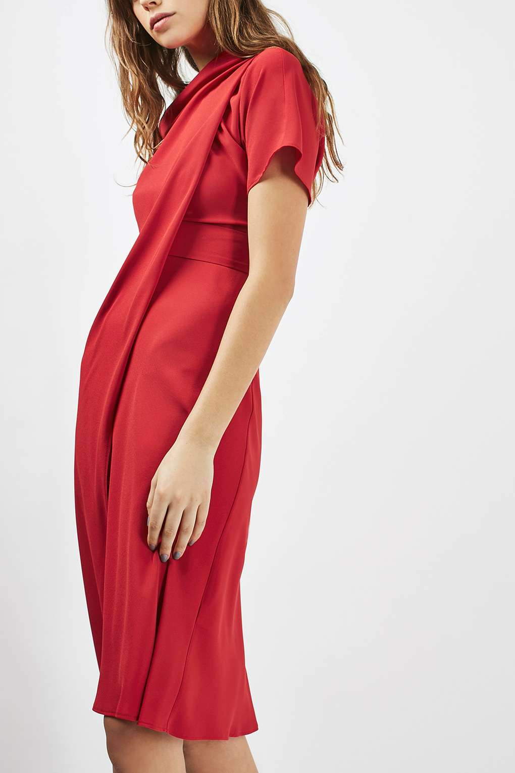 Draped midi dress, €80 at Topshop