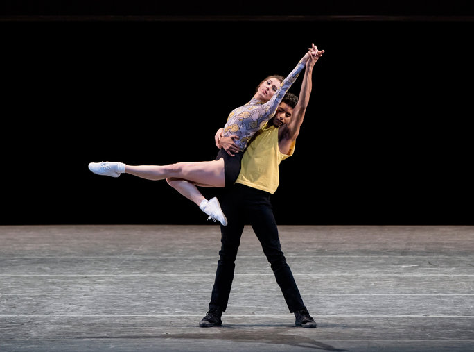 Tiler Peck and Amar Ramasar The Times Are Racing  (World Premiere) Choreography by: Justin Peck Music by: Dan Deacon New York City Ballet   Credit Photo: Paul Kolnik studio@paulkolnik.com nyc 212-362-7778