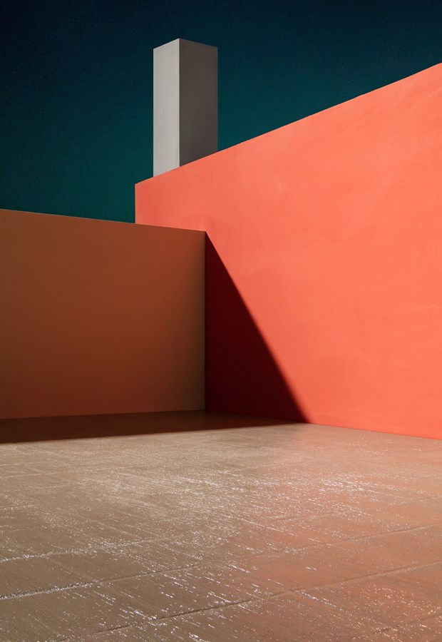 Courtyard with Orange Wall, Casa Barragán, 2017© James Casebere, Courtesy Sean Kelly, New York