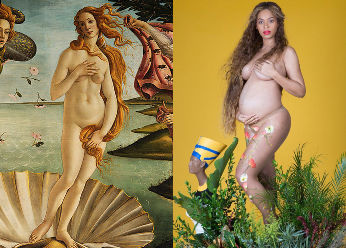 Beyoncé invokes Bottivelli's Birth of Venus (left).  / Instagram