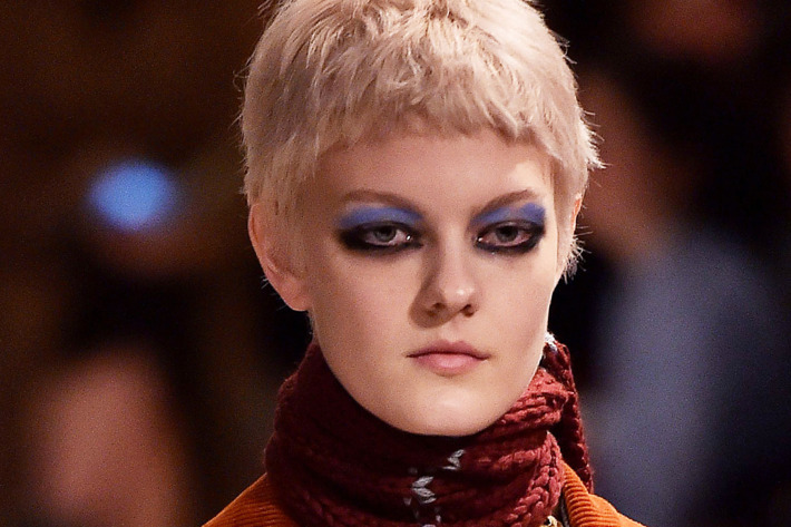 Prada Fall 2017 blue and black eye makeup. Photo: GIUSEPPE CACACE/AFP/Getty Images