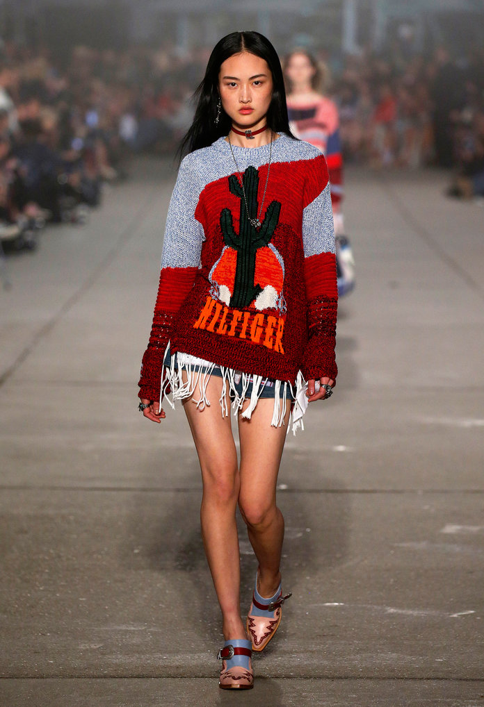 NEW YORK, NY - FEBRUARY 9: A model walks the runway at the Tommy Hilfiger show during the New York Fashion Week February 2017 collections on February 9, 2017 in New York City. (Photo by Estrop/Getty Images)
