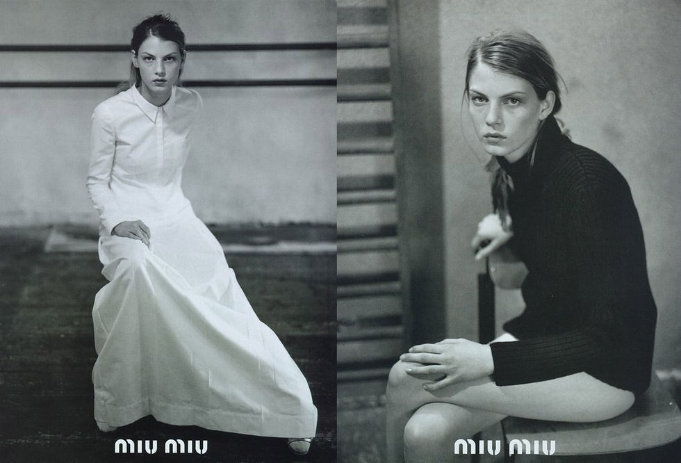 Angela Lindvall for Miu Miu (1995)Photography by Glen Luchford