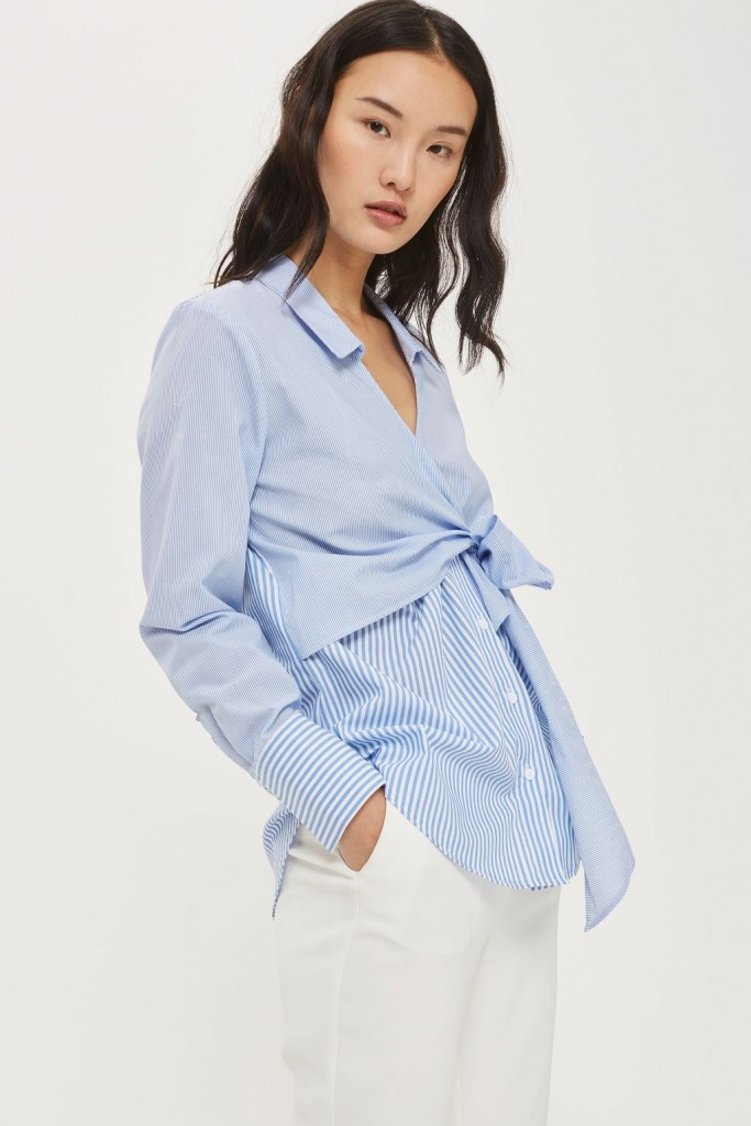 Tie wrap poplin shirt, €46 at Topshop