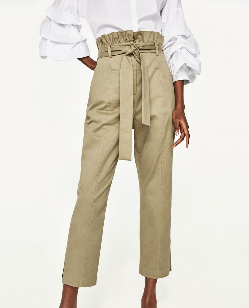 Trousers with frilled waistband, €49.95 at Zara