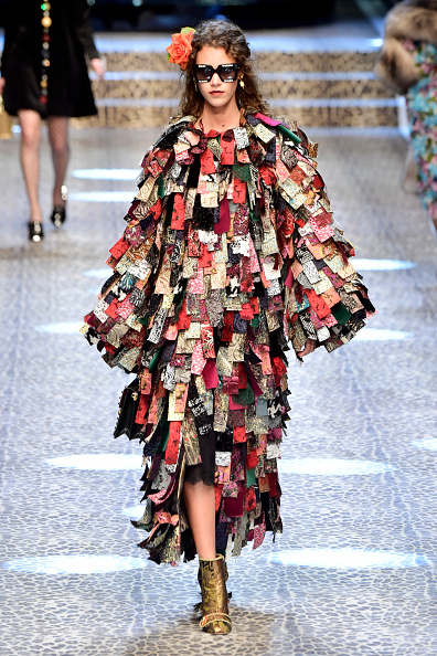 MILAN, ITALY - FEBRUARY 26:  A model walks the runway at the Dolce & Gabbana show during Milan Fashion Week Fall/Winter 2017/18 on February 26, 2017 in Milan, Italy.  (Photo by Victor Boyko/Getty Images)