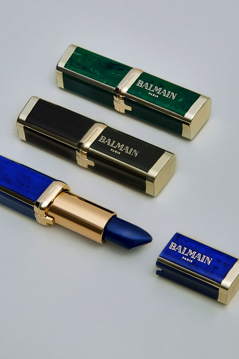 Balmain's lipstick collaboration with L'Oréal Paris features sleek packaging that riffs on marbled stone and adventurous shades, like the deep blue Grace, shown. Photographed by Hanna Tveite