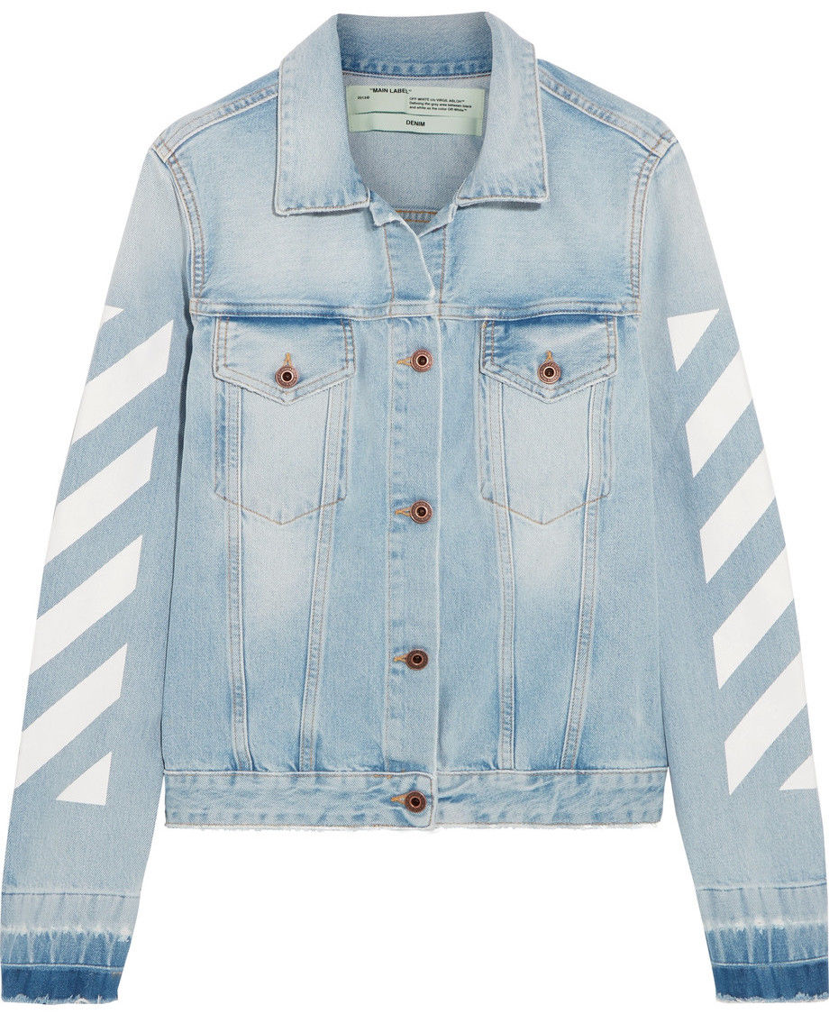 Off-White printed denim jacket, $630, available at Net-A-Porter.