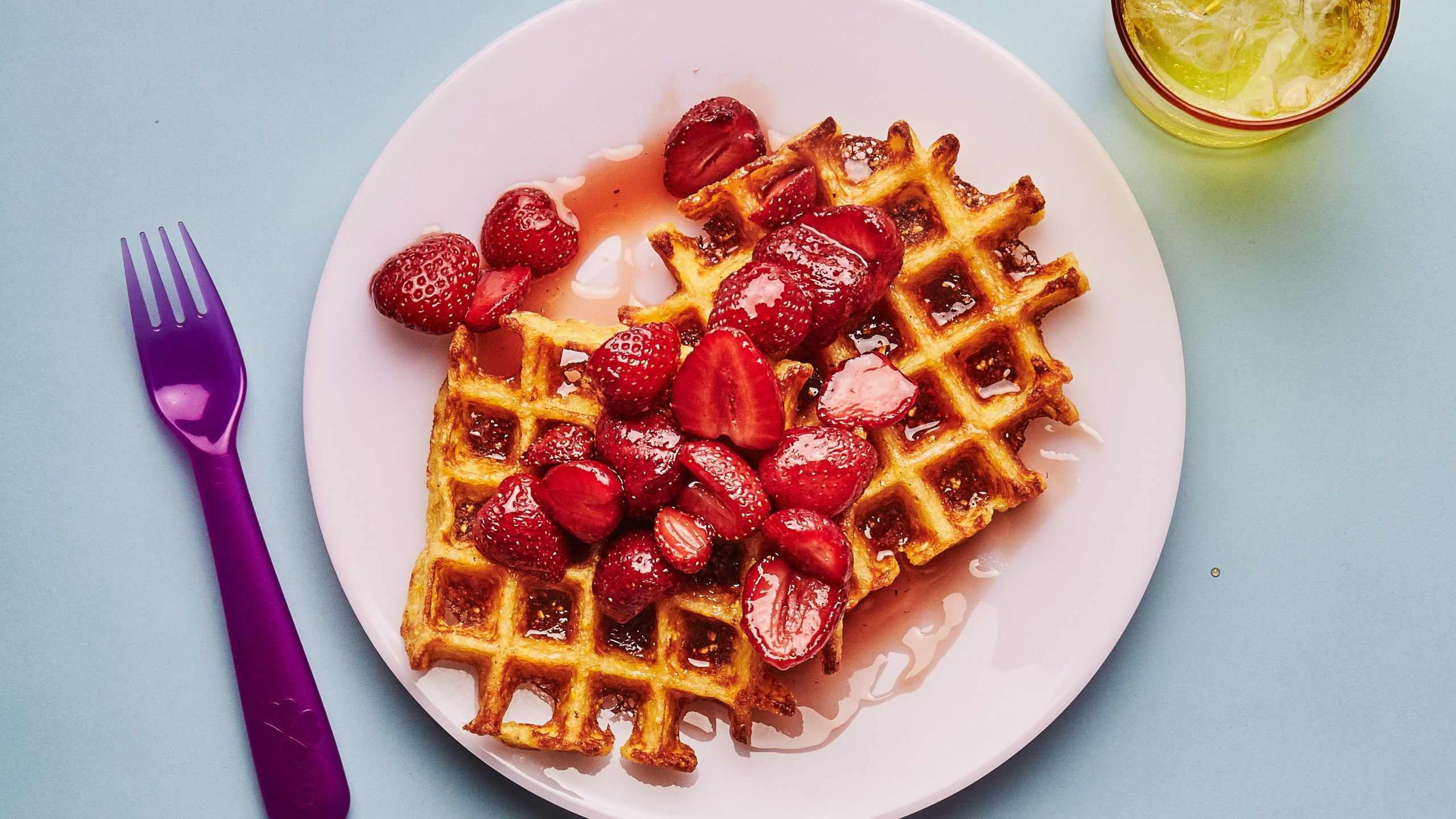 double-corn-waffles-with-strawberry-agave-syrup