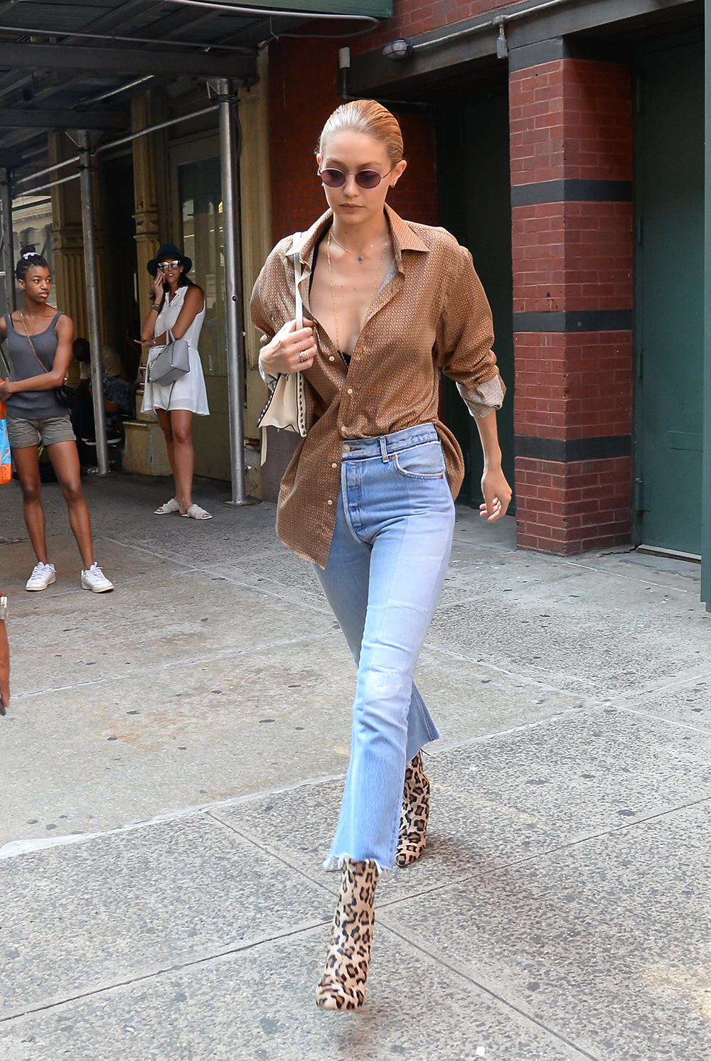 NEW YORK, NY - JULY 18:  Model Gigi Hadid  is seen walking in Soho on July 18, 2017 in New York City.  (Photo by Raymond Hall/GC Images)