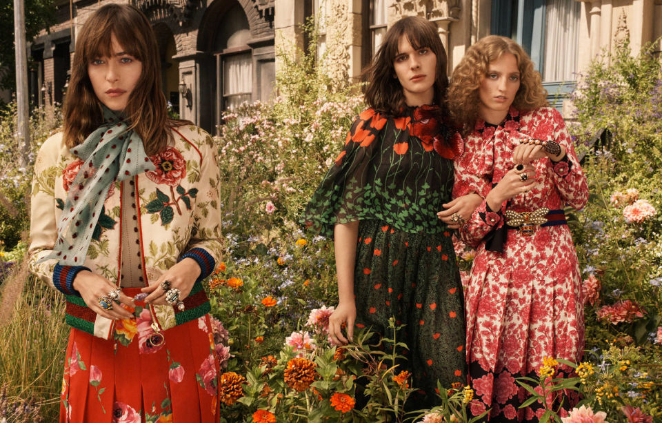 Dakota Johnson, Hari Nef and Petra Collins for Gucci Bloom. Photo: Glen Luchford/Gucci