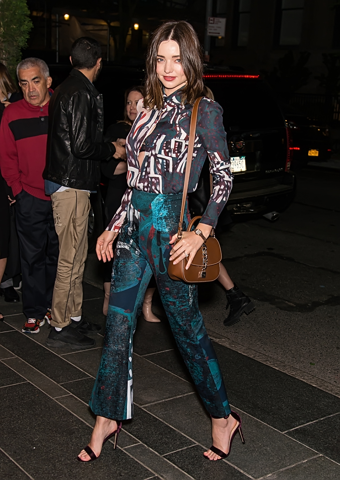 Miranda Kerr is seen arriving at Celebrating Harper's Bazaar 150 Years: The Greatest Moments with American Express Platinum event in New York City.  Pictured: Miranda Kerr Ref: SPL1488494  300417   Picture by: Ouzounova/Splash News  Splash News and Pictures Los Angeles:	310-821-2666 New York:	212-619-2666 London:	870-934-2666 photodesk@splashnews.com