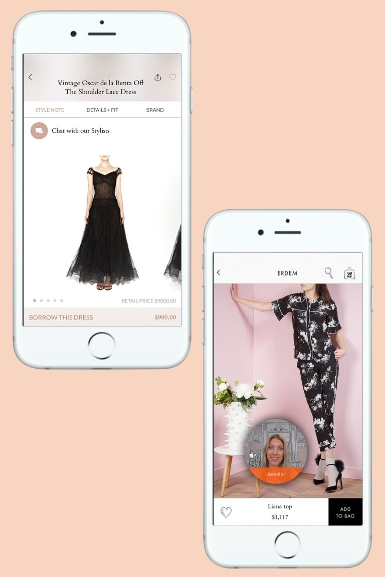 The vintage Oscar de la Renta dress the author wore to the CFDA Awards (left) and an Erdem pajama look she's contemplating for Fashion Week (right) APP SCREENSHOTS