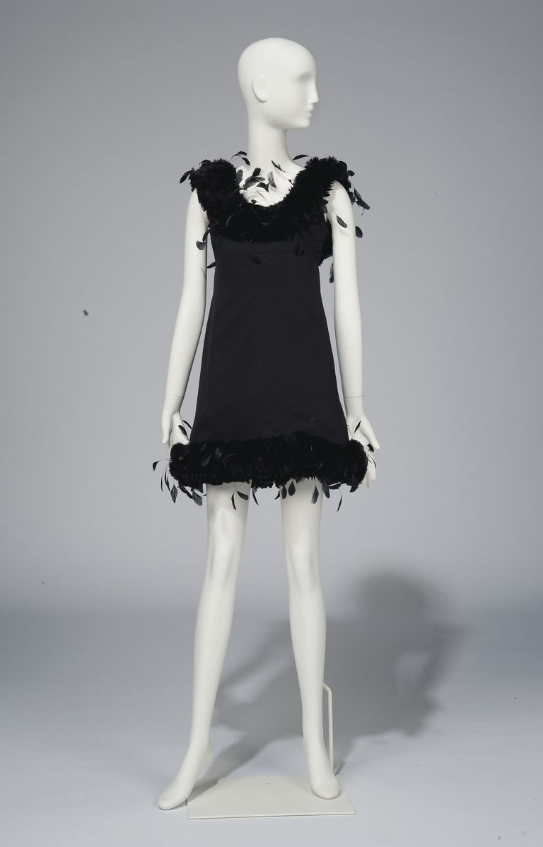 A black satin cocktail gown adorned with feathers by Givenchy Couture Christie's