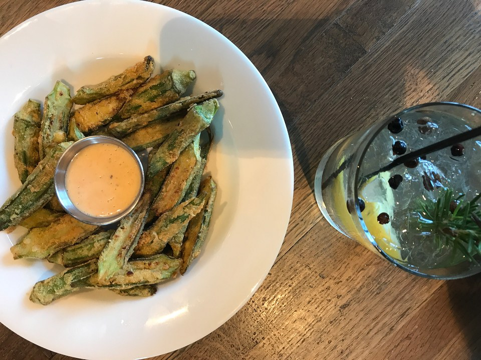 Fried okra and a gin and tonic at Stella's Southern Brasserie  / Photo: Courtesy of Jenn Rice