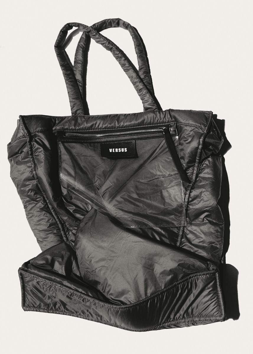 Nylon tote by Versus Versace. Photography by Tim Elkaïm, Styling by Chloe Grace Press