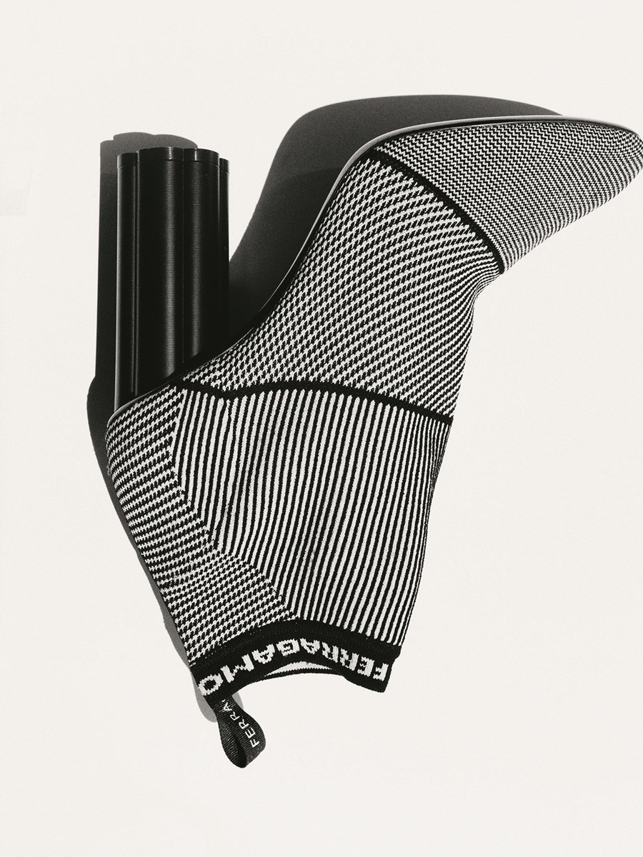 Patterned knitted boot by Salvatore Ferragamo. Photography by Tim Elkaïm, Styling by Chloe Grace Press