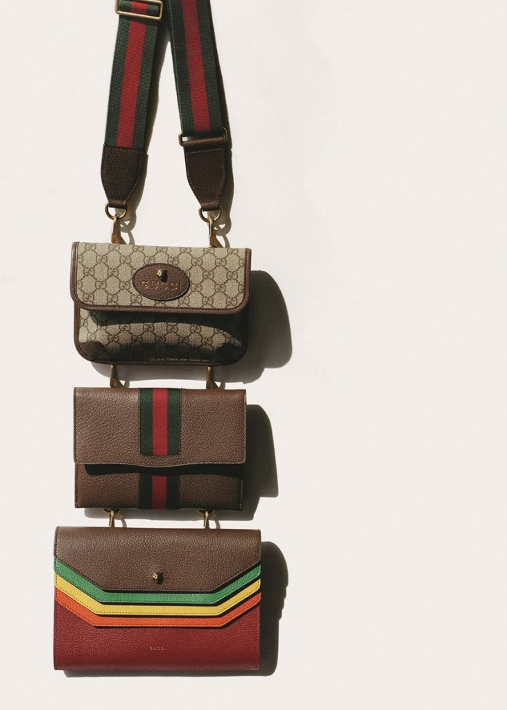 Leather and canvas detachable messenger bags by Gucci. Photography by Tim Elkaïm, Styling by Chloe Grace Press