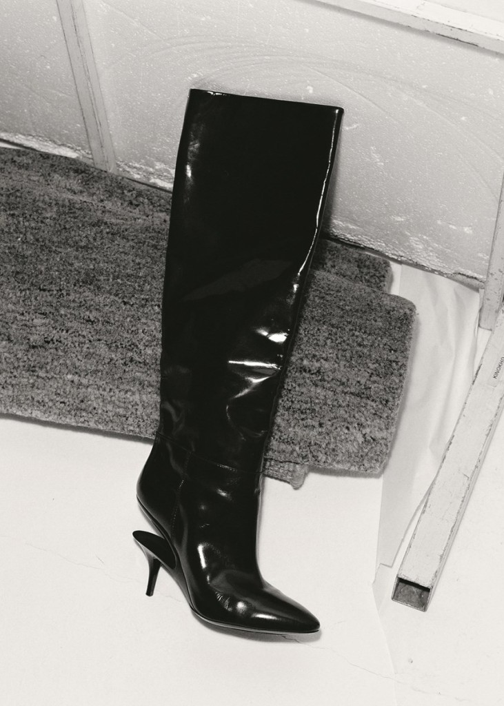 Patent leather double-heel boots by Maison Margiela. Photography by Tim Elkaïm, Styling by Chloe Grace Press
