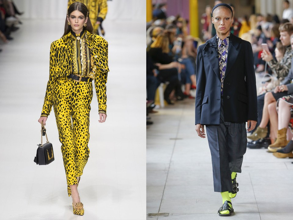 Kaia Gerber at Versace, Spring 2018; Adwoa Aboah at Miu Miu, Spring 2018  / Photos: Indigital
