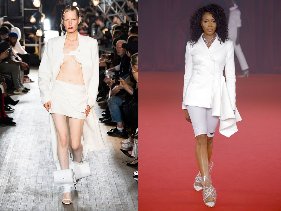 Kirsten Owen at Helmut Lang, Spring 2018; Naomi Campbell at Off-White, Spring 2018  / Photos: Indigital