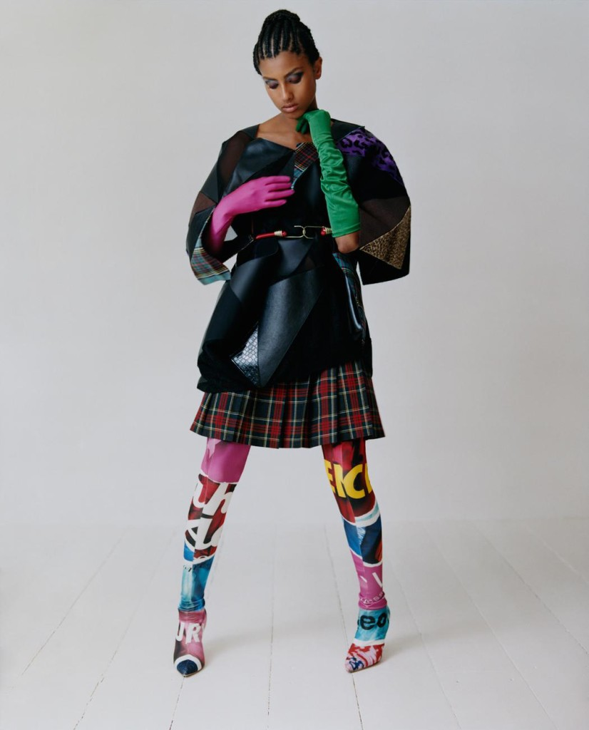 Top and skirt Junya Watanabe. Gloves The Contemporary Wardrobe Collection. Ropes (worn around waist) stylist's own. Boots Moschino.