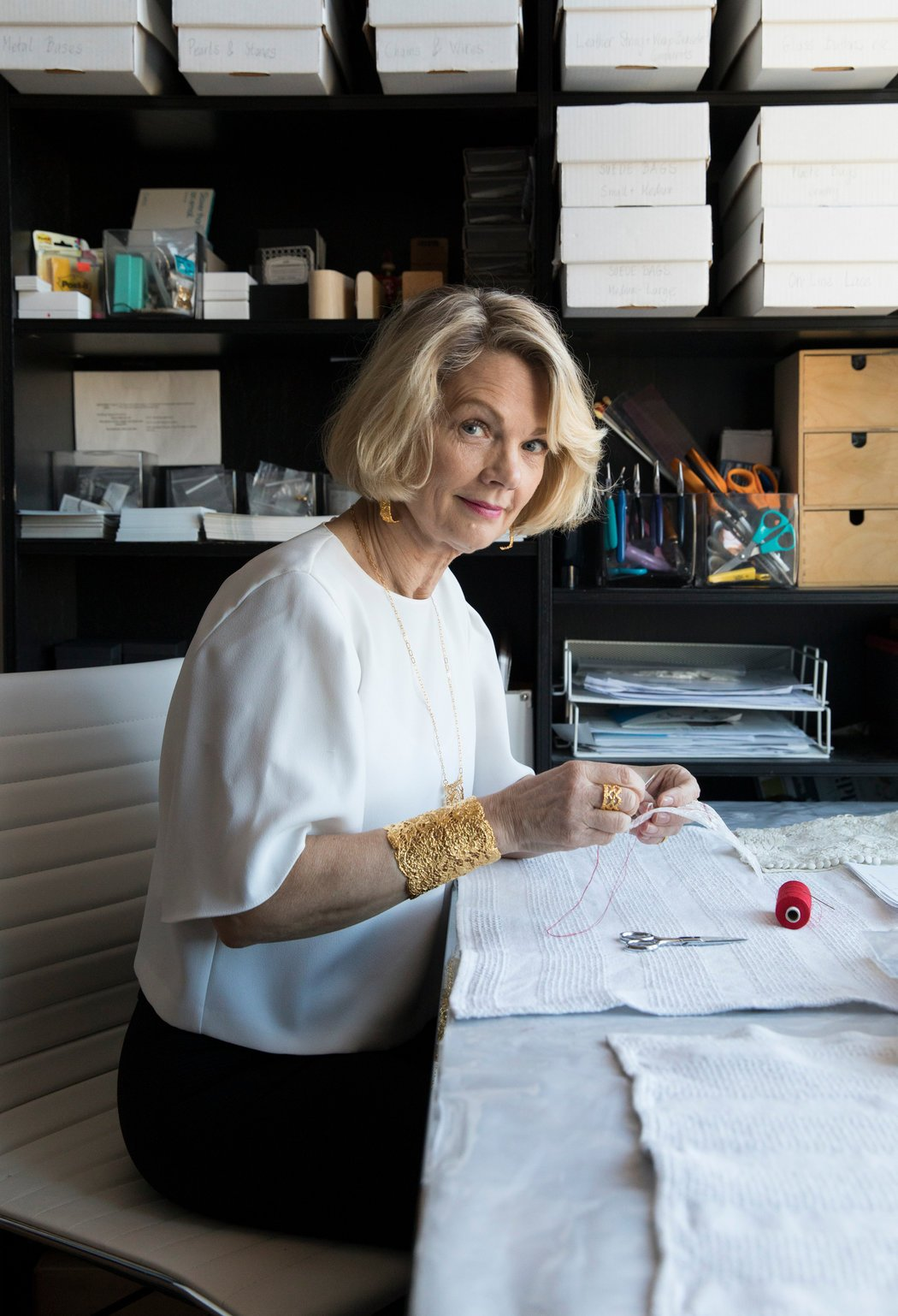 The jewelry maker Monika Knutsson in her apartment and studio in New York. Credit Stefania Curto for The New York Times