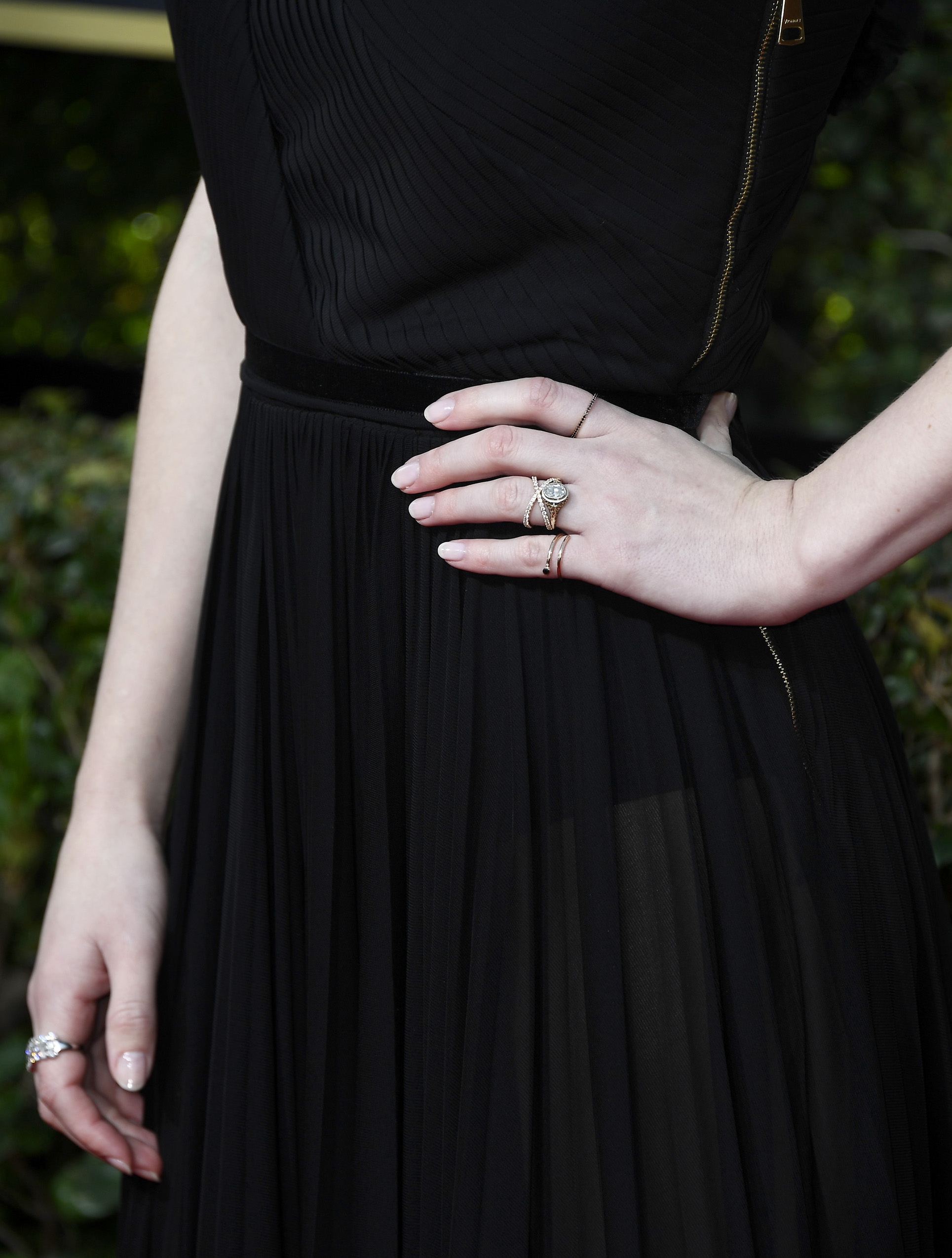 BEVERLY HILLS, CA - JANUARY 07:  Actor Rachel Brosnahan (jewelry detail) attends The 75th Annual Golden Globe Awards at The Beverly Hilton Hotel on January 7, 2018 in Beverly Hills, California.  (Photo by Frazer Harrison/Getty Images)