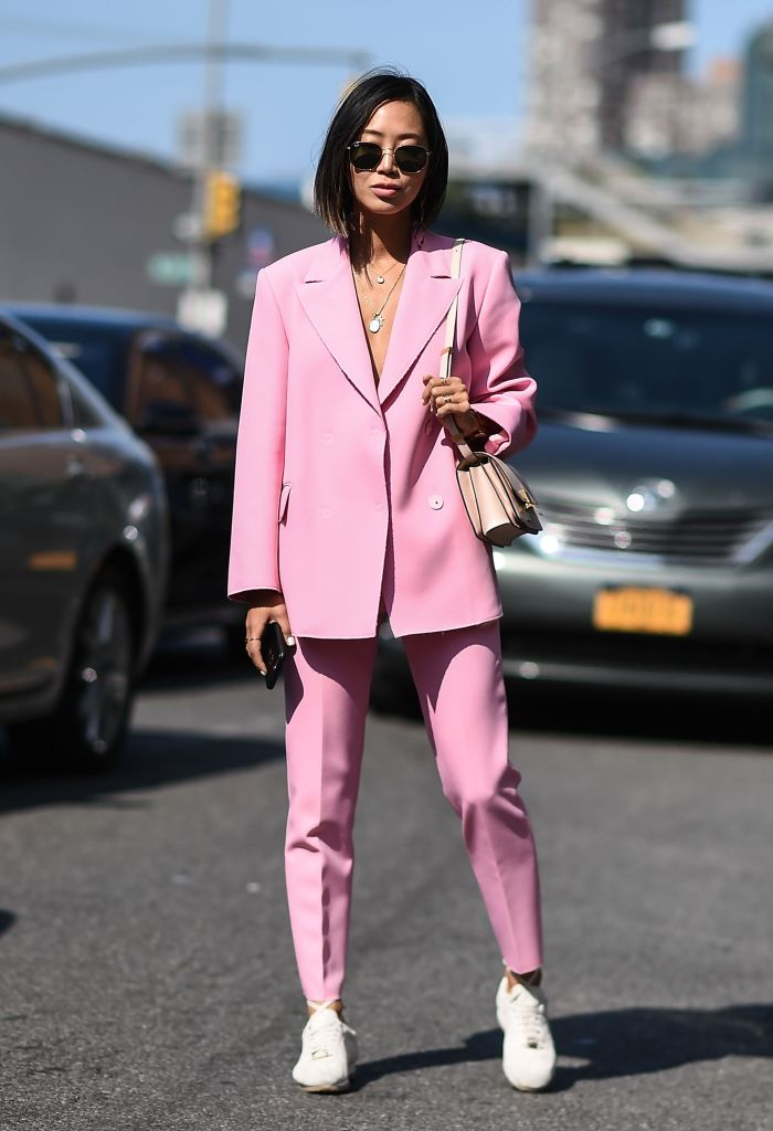 NEW YORK, NY - SEPTEMBER 11: Aimee Song is seen outside the 3.1 Phillip Lim show show during New York Fashion Week: Women's S/S 2018 on September 11, 2017 in New York City.  (Photo by Daniel Zuchnik/Getty Images)