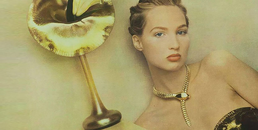 A model posed for Sheila Metzner in 1987 next to a Louis Comfort Tiffany vase while wearing a gold Elsa Peretti snake necklace Photo Sheila Metzner
