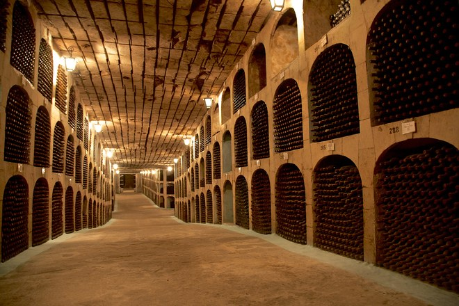 The extensive cellars at Mileștii Mici, one of the largest wine collections in the world Photo: Getty Images
