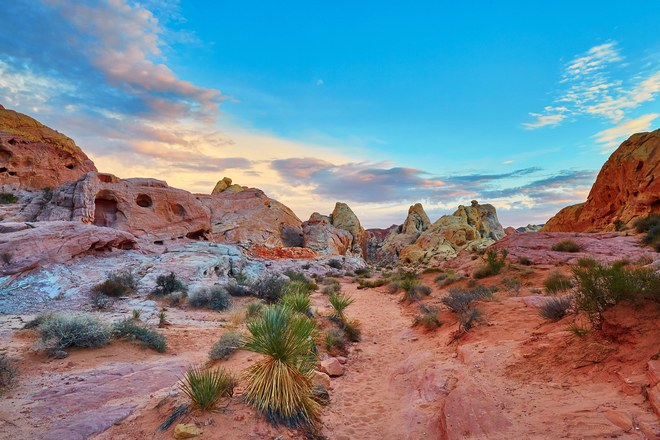 Sunset in Valley of Fire State Park in Overton, Nevada Photo: Getty Images